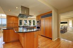 Modern style kitchen interior with large kitchen island Royalty Free Stock Photos