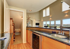 Modern style kitchen interior with wine storage room Stock Images