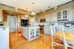 Modern style kitchen with light green walls and glossy hard wood Royalty Free Stock Photography