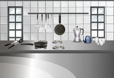 Modern style of kitchen and utensils Royalty Free Stock Image