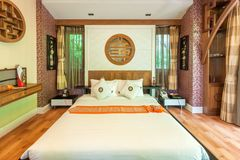 Modern style of living room with bed in resort Stock Photo