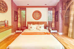 Modern style of living room with bed in resort Royalty Free Stock Images