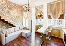 Modern style living-room interior with staircase Royalty Free Stock Photo