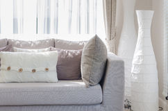 Modern style living room with sofa and pillows Stock Image