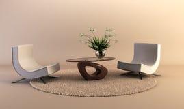 Modern style lounge room. 3D rendering of the modern interior scene stock image