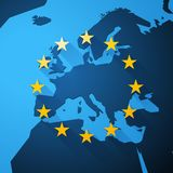 Map of Europe with European Union stars. Modern style Map of Europe with European Union stars Royalty Free Stock Photos