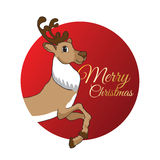 Modern style New Year and Christmas card. Santa deer in the red flat circle. Golden letters on background. Royalty Free Stock Photo