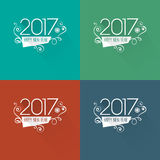 Modern style 2017 new year greetings card. On set of colorful flat backgrounds Vector Illustration