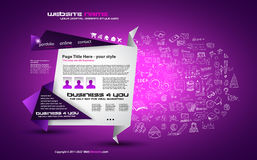 Modern Style Origami Web Template Design with Infographic design elements Stock Image
