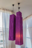 Modern Style Pendant Lights – Purple. In the hotel Royalty Free Stock Photos