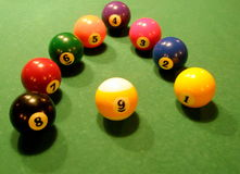 Modern style pool balls Stock Photography