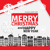 Modern style red black white color scheme christmas card Royalty Free Stock Photography