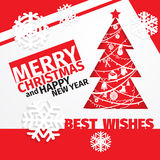 Modern style red black white color scheme christmas card Royalty Free Stock Photo