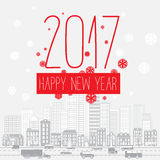 Modern style red gray color scheme new year greetings card. On light-gray background with gray elements and red snowflakes. Flat design element. Bright mood Royalty Free Stock Image