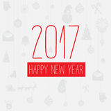 Modern style red gray color scheme new year greetings card. On light-gray background with gray elements and red snowflakes. Flat design element. Bright mood Stock Photo