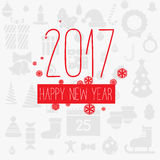 Modern style red gray color scheme new year greetings card. On light-gray background with gray flat Christmas icons and red snowflakes. Flat design element Stock Image