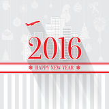 Modern style red gray color scheme new year greetings card on light-gray background. With gray elements, houses, apartments and city landscape. Flat design Stock Photography