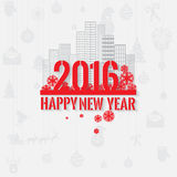 Modern style red gray color scheme new year greetings card on light-gray background. With gray elements, houses, apartments and city landscape. Flat design Stock Photos