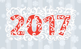 Modern style red gray white color scheme new year greetings card. 2017 modern style red gray white color scheme new year greetings card on light gray background Royalty Free Stock Photography