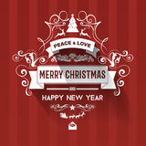 Modern  style red white color scheme new year greetings card. On dark red background, badge with swirls, shadow. Flat design element. Bright mood. 2016 new year Royalty Free Stock Photography