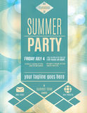 Modern style summer party flyer template. Light and fun summer party invitation flyer template Stock Photo