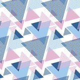 Modern style vector illustration for surface design. Abstract seamless pattern with striped triangle motif Royalty Free Stock Photography