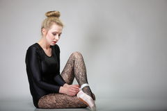 Modern style woman ballet dancer full length Royalty Free Stock Images