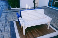 Modern style wooden chair white and blue Royalty Free Stock Photography