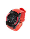 Modern style wristwatch with red silicone strap Royalty Free Stock Image