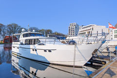 Modern style yacht moored at Nieuwe Kaai, Turnhout, Belgium Royalty Free Stock Photos