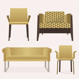 Modern style yellow sofa and arm chair furniture set Stock Image
