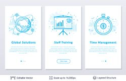 Corporative management symbols. Modern styled banners for business topic. Easy to edit vector icons and place for your text stock illustration