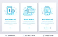 Smartphone and dollar currency money sign. Modern styled banners for business topic. Easy to edit vector icons and place for your text Stock Photos