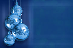 Modern styled blue metal christmas decor stock photos