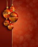 Modern styled warm red christmas decor. Stock Photo