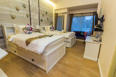Modern styles of bedroom. Of resort in Thailand royalty free stock images