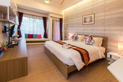 Modern styles of bedroom. Of resort in Thailand stock photography