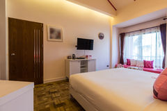Modern styles of bedroom. Room at resort in Thailand stock photography