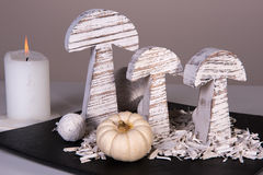 Modern stylish autumn decoration with pumpkin Royalty Free Stock Photo