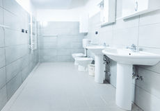 Modern stylish bathroom shot with wide angle lens.  Stock Images