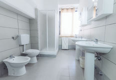 Modern stylish bathroom shot with wide angle lens Stock Images