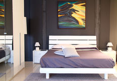 Modern stylish bedroom Royalty Free Stock Photo
