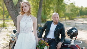 Modern stylish biker wedding. stock video