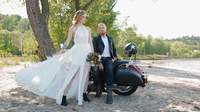 Modern stylish biker wedding. stock footage