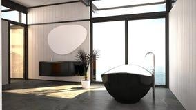 Modern stylish black and white bathroom interior Stock Photography
