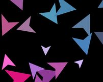 Modern stylish concept of colorful triangles on dark background. Abstract Paper planes, arrows, arrowheads. Vector illustration. Modern stylish concept of stock illustration