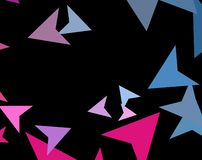 Modern stylish concept of colorful triangles on dark background. Abstract Paper planes, arrows, arrowheads. Vector illustration. Modern stylish concept of vector illustration