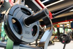 Gym interior with barbell royalty free stock images