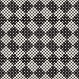 SET 50 Halftone Circles Grids Invert. Modern Stylish Halftone Texture. Endless Abstract Background With Random Size Circles. Vector Seamless Mosaic Pattern stock illustration