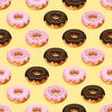 Modern stylish hand drawn repeating texture with structure of ring donuts glazed with icing sugar and chocolate. Royalty Free Stock Photo